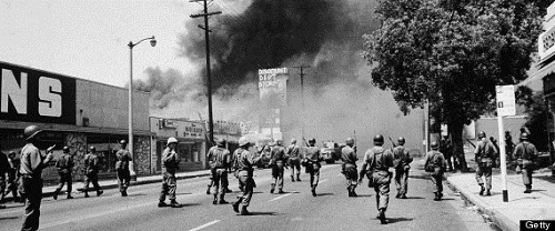 National Guard comes in to help bring order to the South Los Angeles neighborhood of Watts in the days of rioting after the traffic stop in August 1965 with Marquette Frye, his brother Wendell Price, and their mother Rena Price became violent.