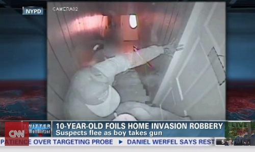 Robbers in Brooklyn attempt to rob home, but quit thinking 10-year-old gets the gun of man trying to kick in an upstairs door and fires warning shot.