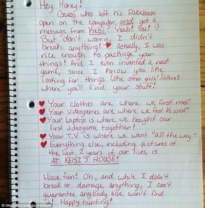 scavenger hunt break up letter