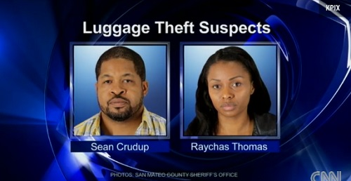 Bag handler, Sean Crudup along with fiancee' Raychas Thomas and another accomplice were caught on surveillance video stealing the luggage of the passengers involved in the Asiana Airlines Flight 214 crash at San Francisco International Airport, July 6, 2013.