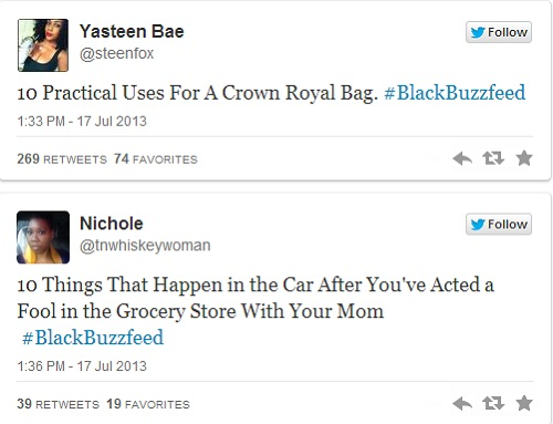 BlackBuzzfeed hashtag takes over Twitter with awesome ideas for thought.
