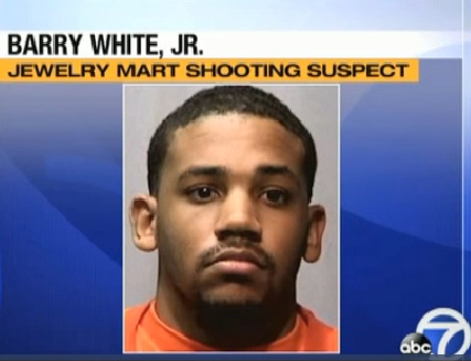 Barry White, Jr., 23, kills two and injures another in jewelry dispute in Vigato jewelrey store in San Francisco, Friday, July 12, 2013.
