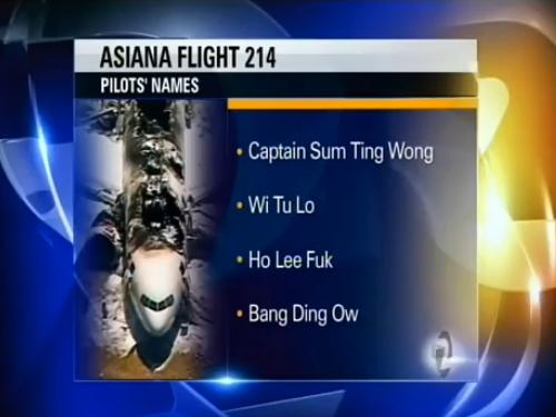 Asiana flight 214 became a joke to a prankster that gave fake asian names for the pilots of the tragic crash, July 6, 2013.