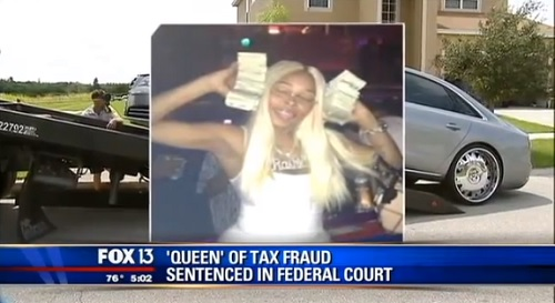Rashia Wilson aka the Queen of Tax Fraud is seen here in a Facebook post bragging about her lavish lifestyle on a Facebook post.