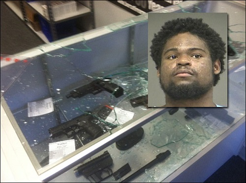 Derrick Mosley, 22, attempts to rob Oregon gun store with a baseball bat.