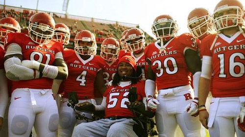 Rutgers former defensive tackle Eric LeGrand, receives the distinct honor of having his #52 retired and becoming the first number to be retired in the school's 144-year history.