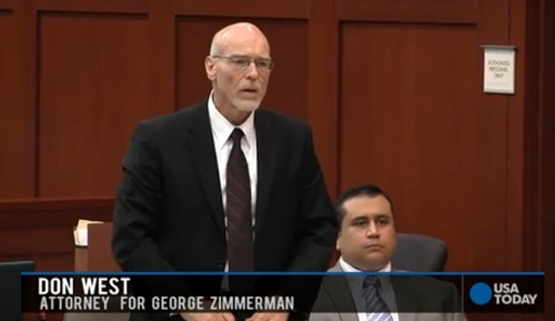 George Zimmerman and his attorney Don West look on as Judge Nelson considers charges of third degree murder and manslaughter be added to the second degree murder charge.