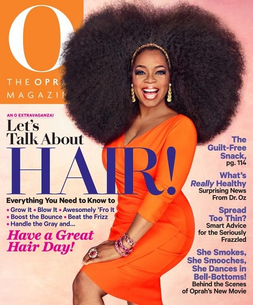 Oprah sports a 3.5 pound afro on the cover of her September issue of  O magazine.