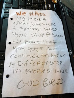 A non-profit organization that is an advocate for sexual assault victims was robbed, but they brought back all the items and left an apology note, Friday, August 2, 2013.