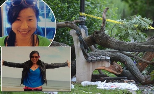 Woman, 30 was killed in Flushing, New York Kisseng Park, when an oak tree fell on her as she sat on a park bench, Sunday, August 5, 2013.