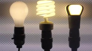 Credit: John Brecher | NBCNews.com From left: Incandescent tungsten, compact flourescent and LED bulbs