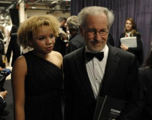 Mikaela and her dad, Steven Spielberg