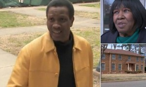 """Pernell """"Sweet Pea"""" Whitaker (L) his mother, Vonella Whitaker (top right) and the home he bought her and later evicted her from, bottom right."""