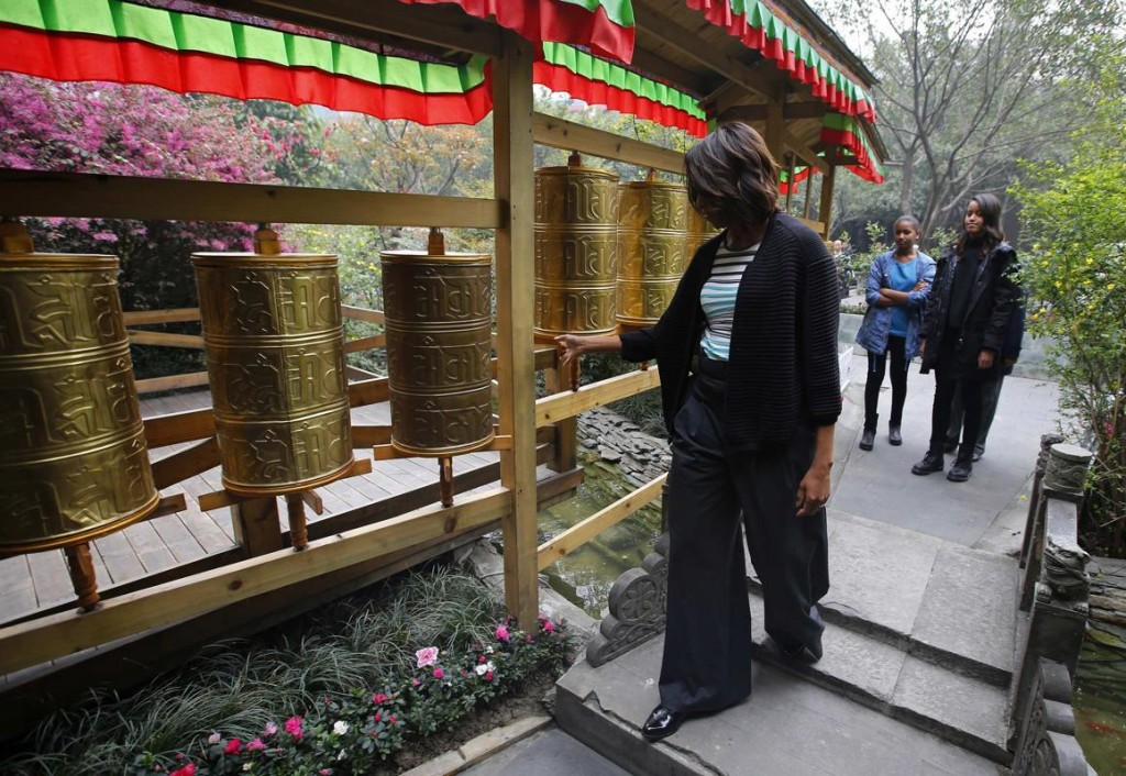Michele O in China 1, prayer wheels