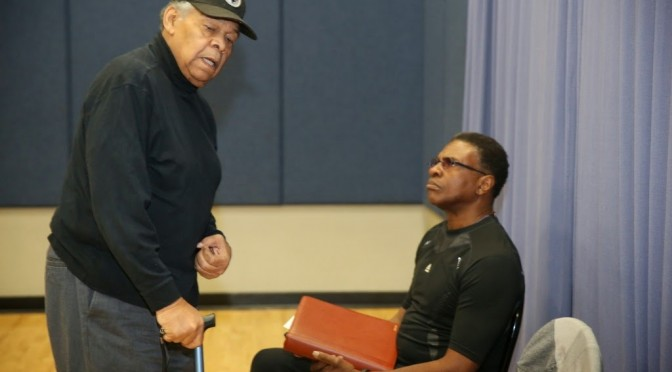 (L) Phillip Hayes Dean directs Keith David (seated) in current production of his play, PAUL ROBESON at Nate Holden Performing Arts Center
