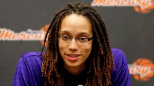 In this April 20, 2013, file photo, Phoenix Mercury's Brittney Griner, the No. 1 overall pick in the WNBA draft, speaks during a news conference in Phoenix. The WNBA is launching a campaign to market specifically to the gay, lesbian, bisexual and transgendered community. (AP Photo/Matt York, File)