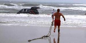 Minivan in water