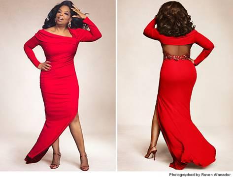 Oprah in red dress