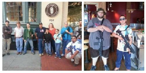 Gun rights activists display assault weapons at a Chipotle eatery
