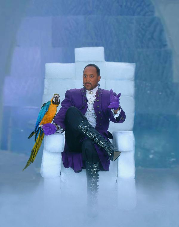 Illusionist Ice McDonald sits on his Ice Throne