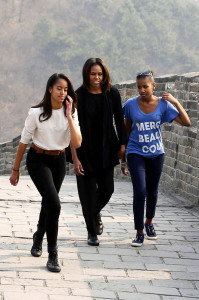 Michelle Obama and her girls Sasha and Malia visit Great Wall of China **USA ONLY**