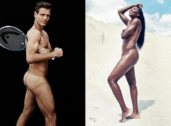"""Tomas Berdych and Venus Williams pose for The ESPN """"Body Issue"""""""
