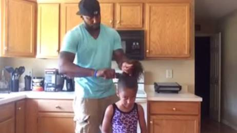 Dad does girls hair