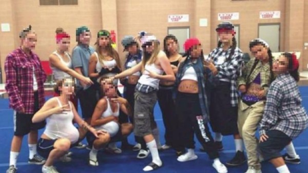 Cheerleaders at Redlands East Valley High School pose as gangsters for team-building exercise