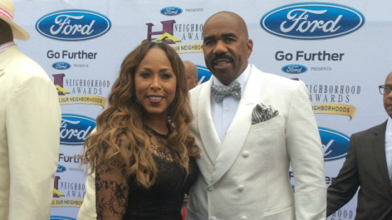 Steve Harvey and his wife Marjorie attend the 2014 Ford Neighborhood Awards hosted by Steve Harvey at Philips Arena on August 9, 2014, in Atlanta, Georgia. (photo credit: Jerome Dorn)
