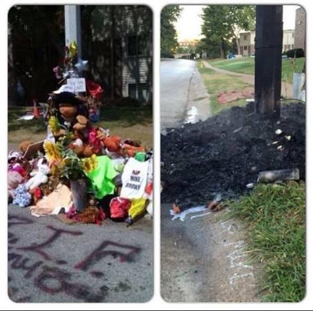Michael Brown Memorial Burned Down