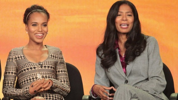"""The two Oliva's"" Kerry Washington (L) and Judy Smith speak at a Theater Critics Association meet."