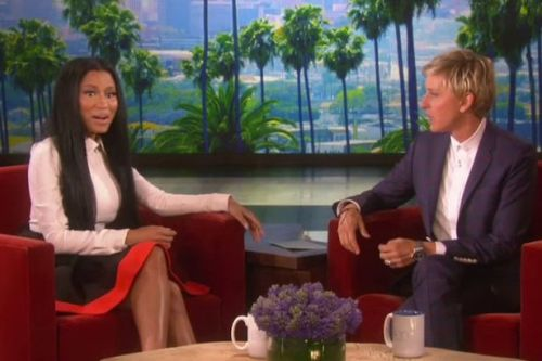 Nicki Minaj (L) and Ellen DeGeneres