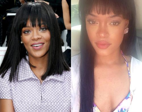 Rihanna (left) and her lookalike Andele Lara (right). Photo: Instagram