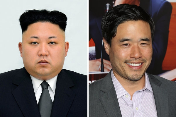 """North Korean leader Kim Jong-un, left, and the actor Randall Park, who plays him in the film """"The Interview."""""""