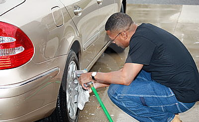 Car wash2, owner washes cars at Freedom