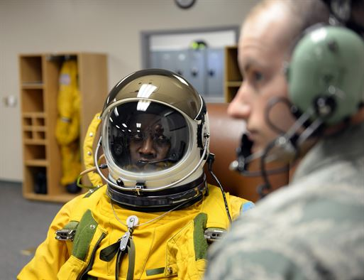 Lt. Col. Merryl Tengesdal receives a maintenance check on her full pressure suit by Senior Airman Garret McNeely in preparation to take flight in a U-2 Feb. 9, 2015 at Beale Air Force Base, Calif. Tengesdal is the 9th Reconnaissance Wing inspector general and a U-2 pilot. McNeely is a 9th Physiological Support Squadron aerospace physiology technician.