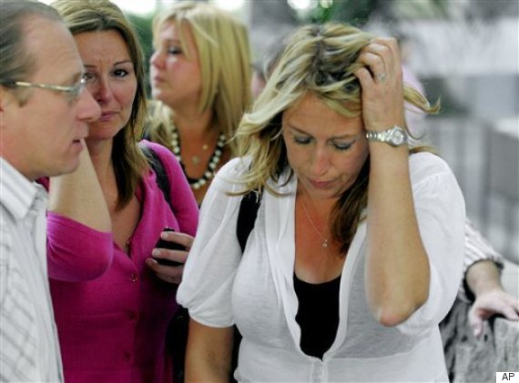 A distraught Sarah Key-Marer leaves court in this 2009 photo, where the second trial ended with a deadlocked jury.