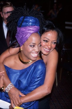 Rhonda Ross being embraced by her mom, Diana Ross