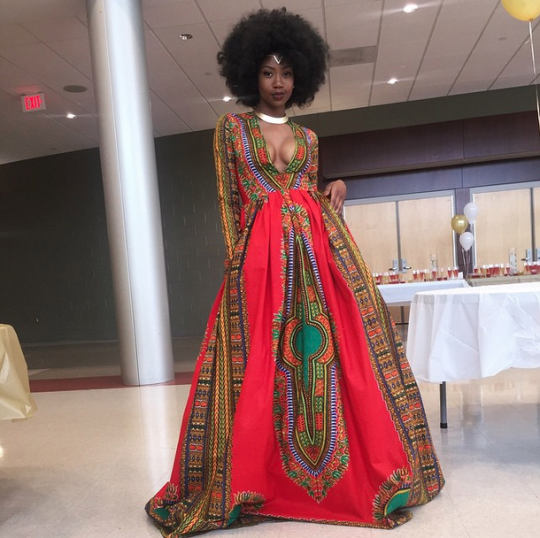 Artist Kyemah McEntyre, 18, designed this beautiful dress and had heads rolling all night long.