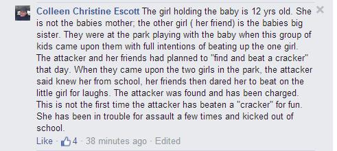 post on brutal beating of white girl by black teen