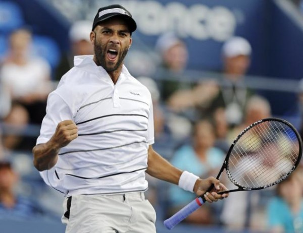 A 'James Blake Victory Moment' during his match against Marcel Granollers at the 2012 U.S.