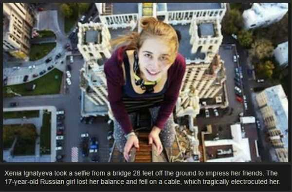 Xenia, selfie from bridge, electrocuted
