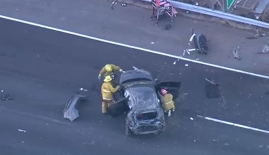 Car of the unidentified victim on the I-5 Freeway headed towards Pasadena