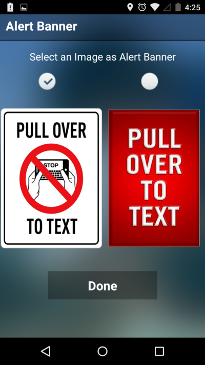 Pull over to text screen shot