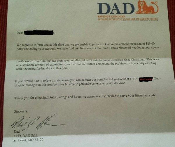 loan refusal from dad to son