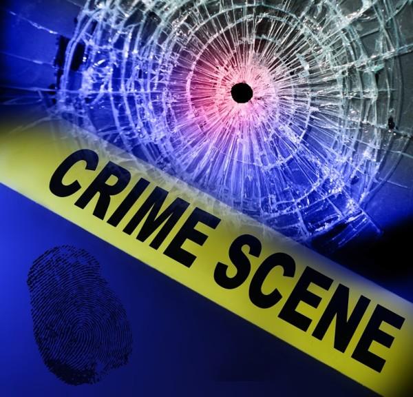 Yellow crime scene tape with broken window and fingerprint