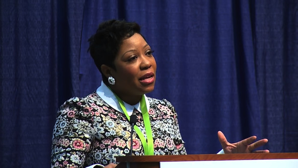 Nancy Hanks, who now serves as chief of elementary schools in Madison, Wis. speaks at Teach for America conference.