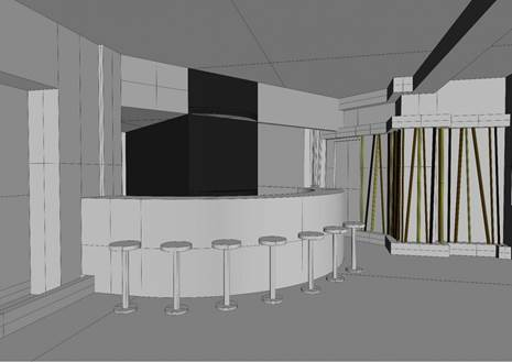 A rendering of the entrance to the Bunyadi's bar area, where fully clothed patrons can choose to change into a robe before dining inside the clothing-optional restaurant. (Courtesy of the Bunyadi)