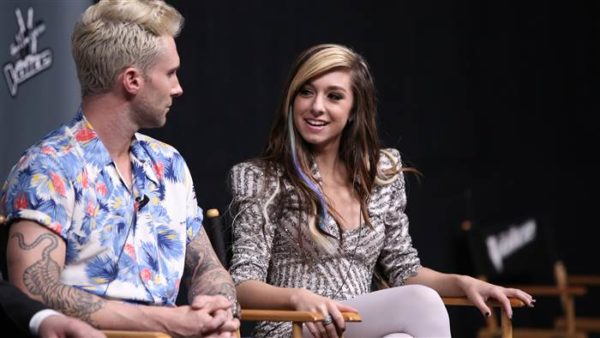 Adam Levine and Christina Grimme during a session on The Voice