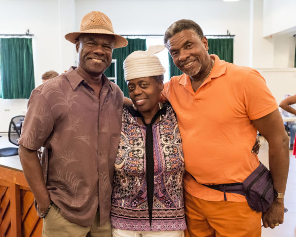 "L-R: Cast members Glynn Turman, Lillias White and Keith David on the first day of rehearsal for August Wilson's ""Ma Rainey's Black Bottom"" at Center Theatre Group/Mark Taper Forum. Photo by Craig Schwartz."
